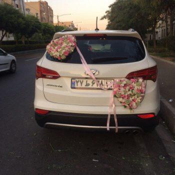 ماشین عروس سانتافه گل زده